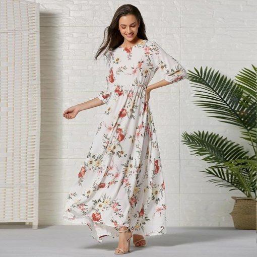Hippie langes Kleid mit Blume